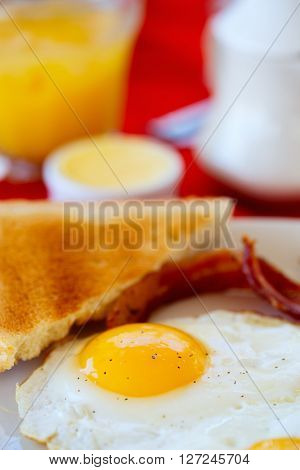 Close up of a breakfast with fried eggs and toast