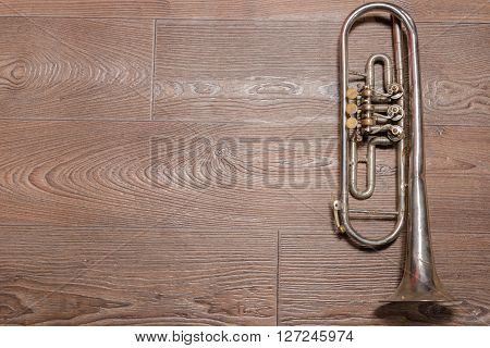 Old rusty trumpet lays on wooden floor