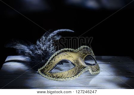 The Venetian mask with feather . light brush.dark backgriound