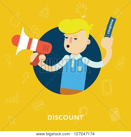 Discount banner concept. Shopping time. Discount offer. Special offer banner. Overstock lots. Discount elements. Сlearance sale. Sale time vector illustration. Discount banner. Sale offer illustration. Banner for website or mobile app