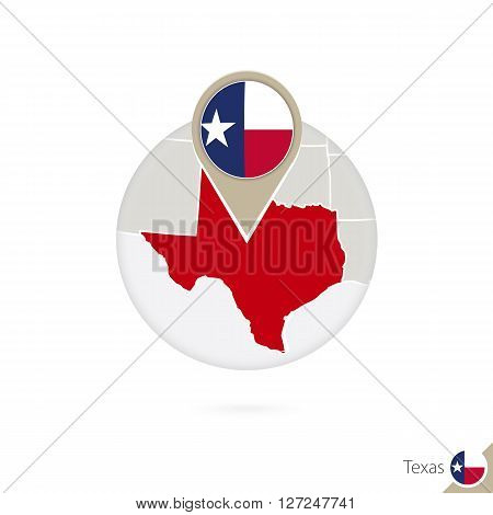 Texas Us State Map And Flag In Circle. Map Of Texas, Texas Flag Pin. Map Of Texas In The Style