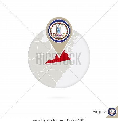 Virginia Us State Map And Flag In Circle. Map Of Virginia, Virginia Flag Pin. Map Of Virginia In The