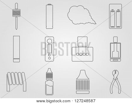 12 vaping stuff thin lines style icons set