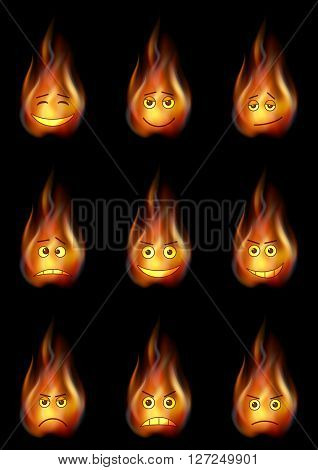 Set of Smileys, Stylized Flames, Symbolizing Various Human Emotions. Eps10, Contains Transparencies. Vector