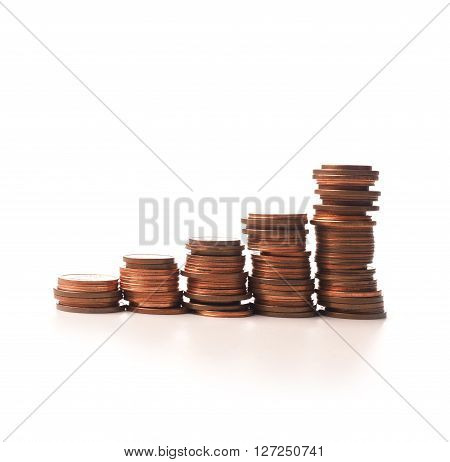 Stacked coins on a white background financial concept