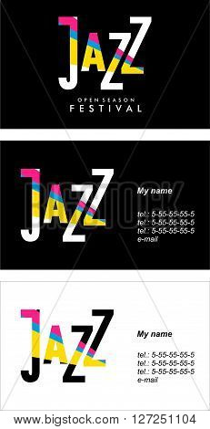 vector-sided business card on jazz in two versions a dark background and light background