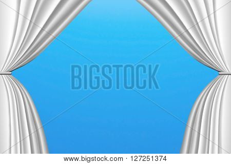3D White Stage Curtains