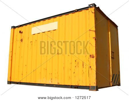 A Yellow Ship Freight Container, Isolated On A White Background.