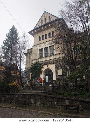 ZAKOPANE POLAND - APRIL 24 2016: Museum Tatrzanskie im Chalubinskiego on 24 April 2016 in Zakopane Poland. Building of the Tatra Museum im. Chalubinskiego is often frequented by tourists