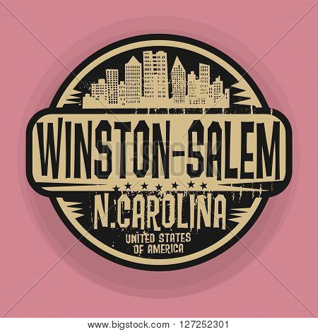 Stamp or label with name of Winston-Salem, North Carolina, vector illustration