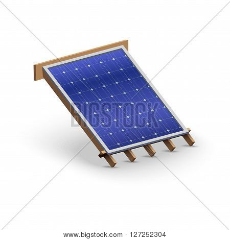 3D Icon demonstration solar panel cover on the roof.   Illustration isolated on white background.