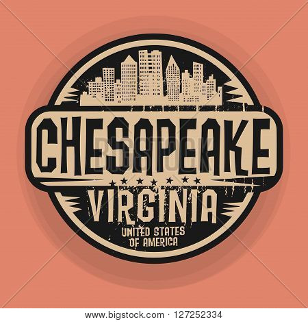 Stamp or label with name of Chesapeake, Virginia, vector illustration