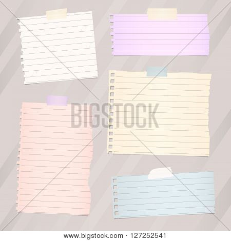 Pieces of torn white lined note paper, banners are stuck on brown diagonal background.
