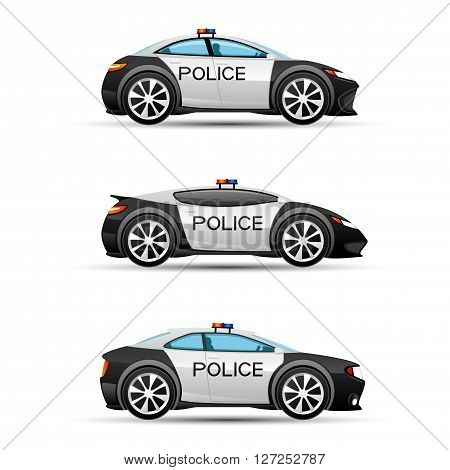 Vector set of police cars on a white background.