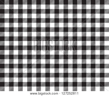 Black table cloth background seamless pattern. Vector illustration of traditional gingham dining cloth with fabric texture. Checkered picnic cooking tablecloth.