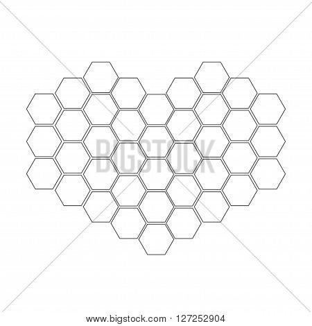 Honeycomb set in shape of heart. Beehive element. Honey icon. Isolated. White background. Flat design. Flat design. Vector illustration