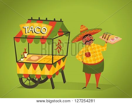 Shopkeeper sells tacos on the street. Mexican food concept. Man in Mexican national costume. Vector character in cartoon style. Banner of mexican street food. Cartoon mexican food poster. National food from Mexico. Mexican people concept.