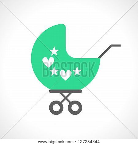 Illustration of baby pram icon isolated on white background. Flat style. Carriage for a little child. Stroller for a kid. Perambulator. Transportation unit. Small cartoon trolley. design
