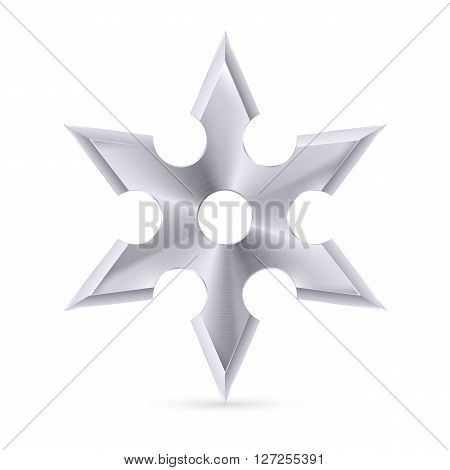 Metal shuriken with six tips on the white background