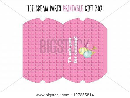 Gigt box printable. Cut. Ice cream party