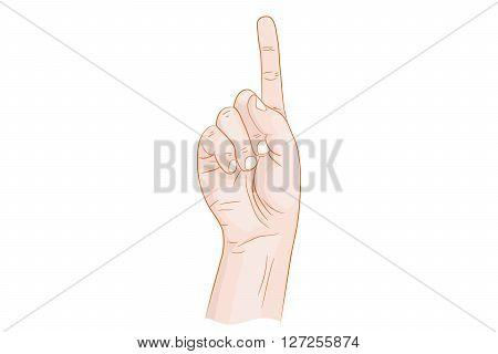 Hand with forefinger held up vector illustration