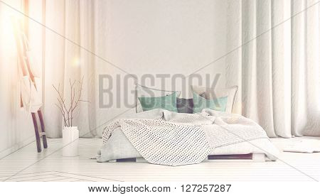 Sun pouring through windows beside storage in bags on poles, planter on floor and single large bed in room with blue pillows and long white curtains. 3d Rendering.