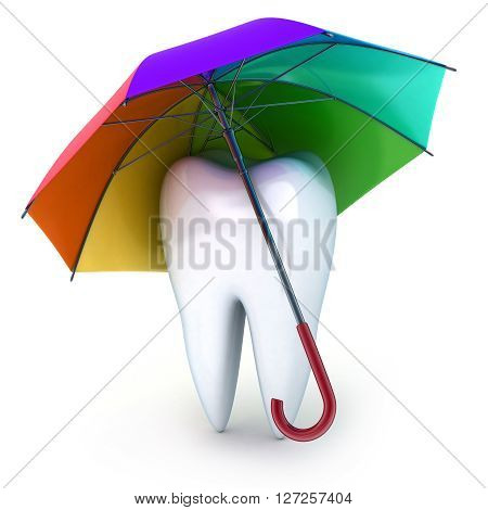 Tooth and umbrella (done in 3d on white background)