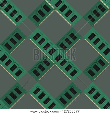RAM modules pattern vector illustration cross gray green