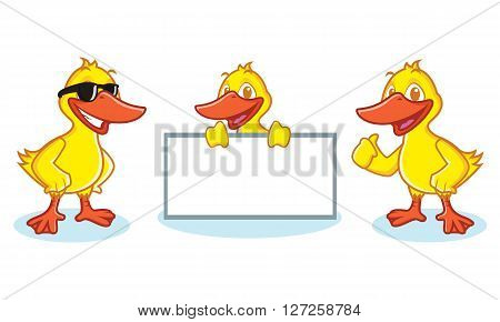 Duck Mascot Vector happy pose and bring board