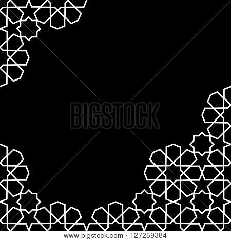 white and black moroccan zellige mosaic template. vector illustration poster