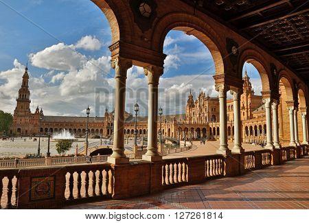 Spain Square (Plaza de Espana). Seville, Spain. HDR