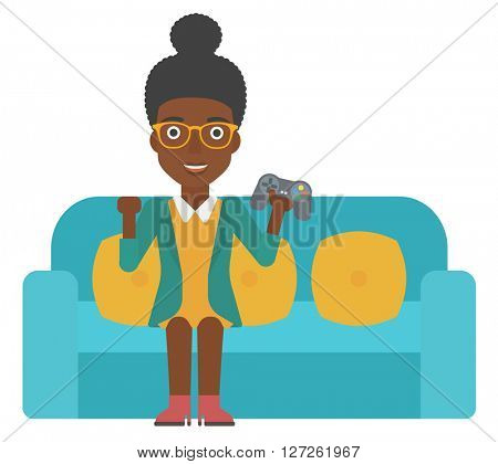 Woman playing video game.