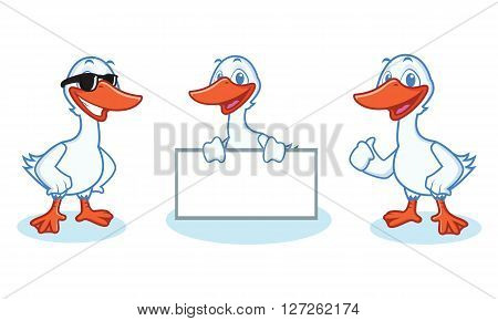 Goose Mascot Vector happy pose and bring board