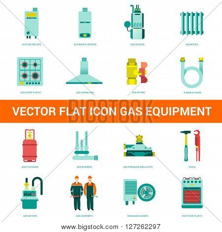 Vector flat icon gas equipment. Gas equipment and household appliances for the kitchen bathroom and heating. Locksmith tool for gas equipment.