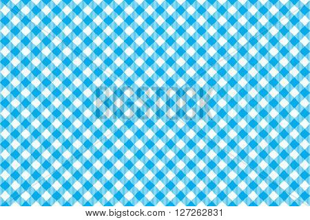 Blue tablecloth diagonal background seamless pattern. Vector illustration of traditional gingham dining cloth with fabric texture. Checkered picnic cooking tablecloth.