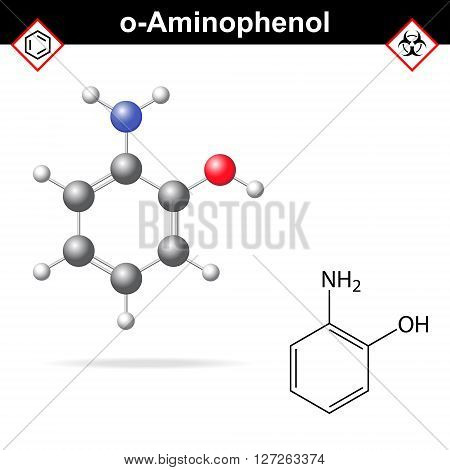 Ortho aminophenol chemical structure and model 2d and 3d vector illustration eps 8