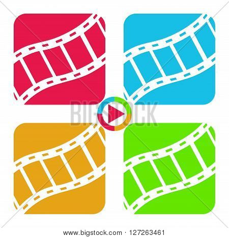 Film tape icons 2d multicolored vector signs eps 8