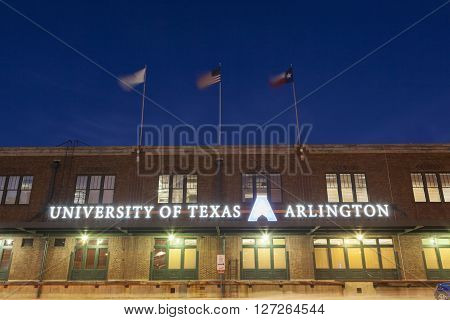 FORT WORTH TX USA - APR 6: University of Texas Arlington building illuminated at night in Fort Wort. April 6 2016 in Fort Worth Texas USA
