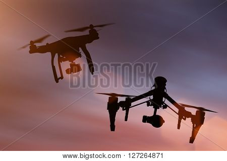 Drones with high resolution camera flying, close-up.