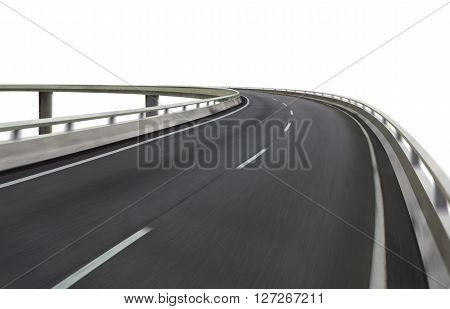 Highway overpass motion blur on white background . with clipping path .