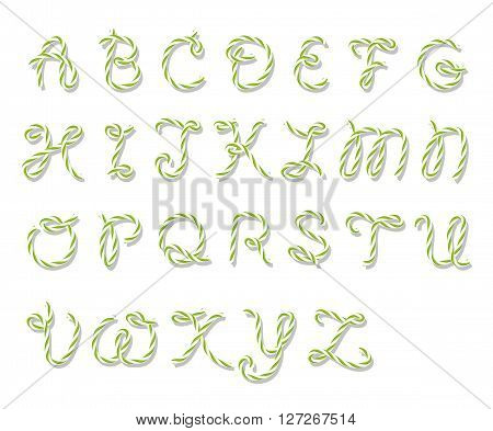Illustration of capital letters alphabet in bakers twine style on white background