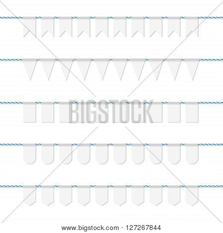 Collection of white bunting banners on blue bakers twine