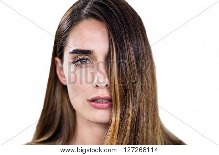 Close- up portrait of woman on white background