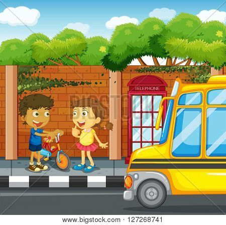Children hanging out on the sidewalk illustration