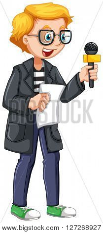 News reporter holding script and microphone illustration