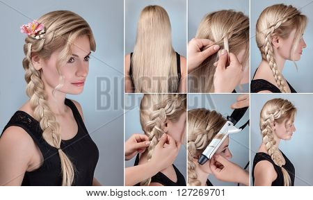 simple braid hairstyle tutorial. Romantic evening hairstyle for long hair. Blond model with braid hairstyle with fresh flowers