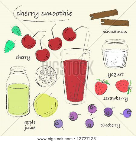 Smoothie recipe drawing. Cherry smoothie glass with ingredients. Cherry apple blueberry strawberry yogurt. Charcoal grungy sketch line art. Vector recipe illustration.