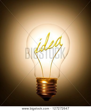 the idea of word idea providing light as a lightbulb