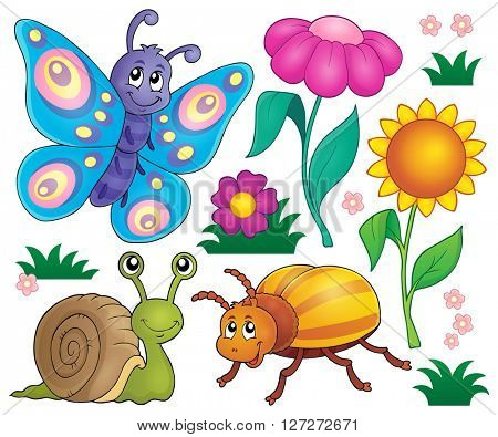 Spring animals and insect theme set 2 - eps10 vector illustration.