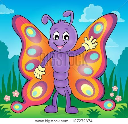 Cheerful butterfly theme image 2 - eps10 vector illustration.